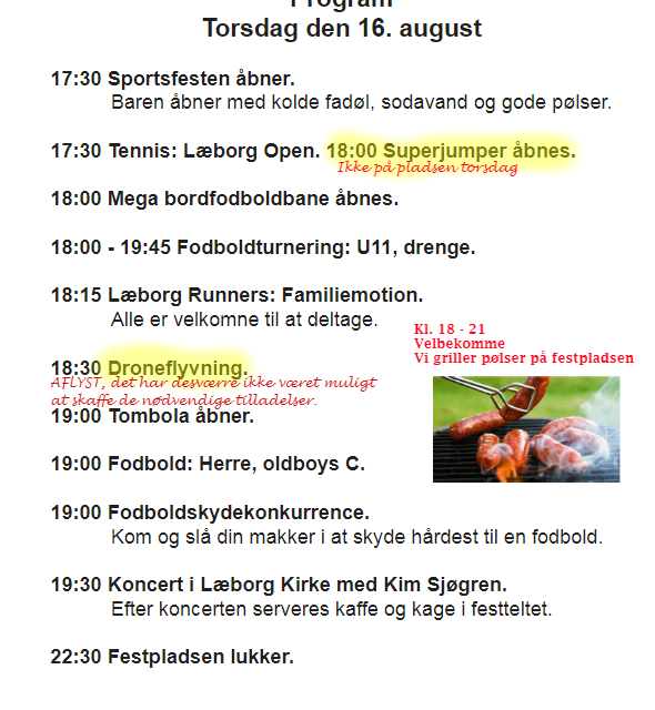 Sportsfest; Ændret program